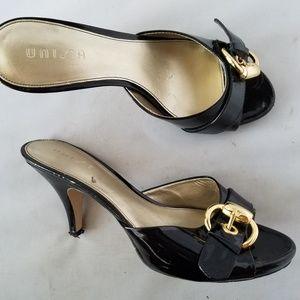 Unisa Nuravenane Black Patent Leather Buckle Slide